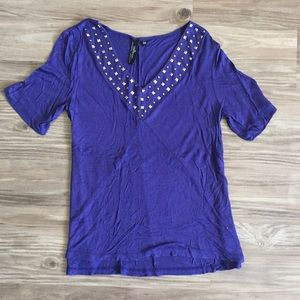 Pacsun Purple Studded V-Neck Shirt